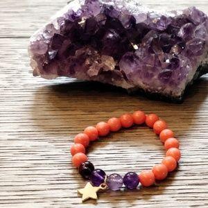 "Mala Bracelet Amethyst Super Seven and Coral 6"""